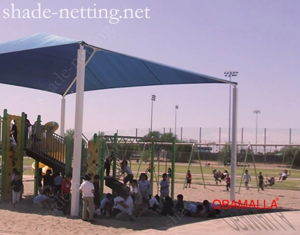 Childrens game protected with the shade netting.